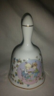"""Precious Moments Porcelain bell,1998 Young Girl & Boy Praying 4 1/4"""" tall"""