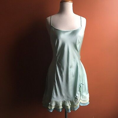 VICTORIA'S SECRET Mint Green Ruffled Slip Size L