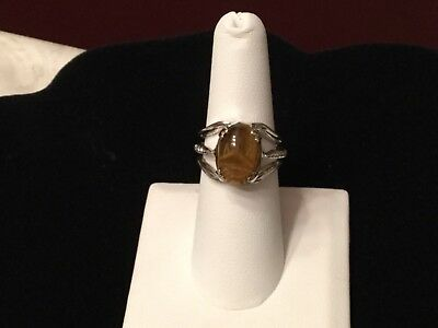 Vintage UNCAS 925 Sterling Silver Tiger's Eye Unique Design Scarab Ring 6.75