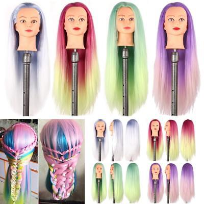 28'' Colorful Hair Mannequin Training Head Hairdressing Practice Doll + Clamp UK