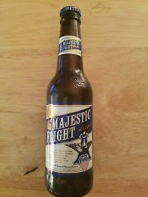 1 Rare Majestic Flight Lager Glass Beer Bottle W/ Spelling Mistake By Budweiser