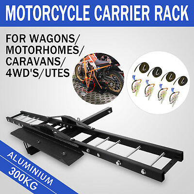 Heavy hitch mount aluminum motorcycle carrier rack and dirt motorbike no trailer