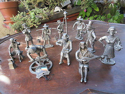 Vintage Collectible Royal Holland Daalderop Pewter Figurines Set Of 10