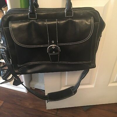 Franklin Covey Leather  Briefcase Laptop Carry On Black Bag