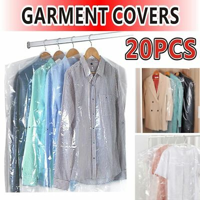 "NEW 20pcs 40"" POLYTHENE GARMENT COVERS CLEAR PLASTIC DRY CLEANER CLOTHES BAGS UK"