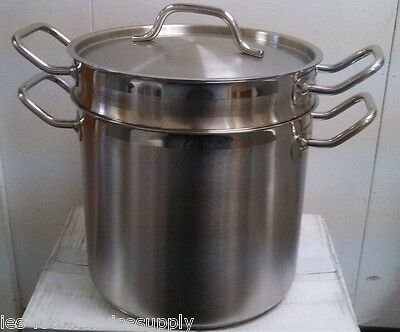 12 Quart DOUBLE BOILER POT 18/8 STAINLESS INDUCTION READY Commercial or Home Use