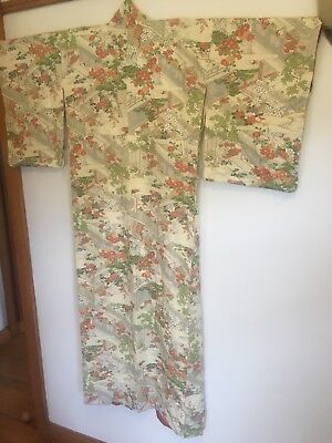 Cream, peach and green Silk Japanese Kimono (floral/traditional pattern)