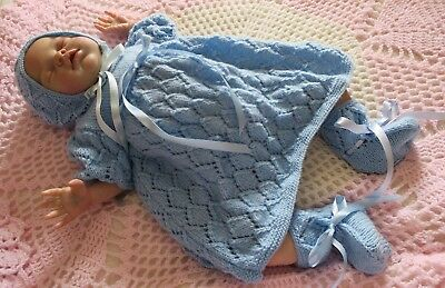 Knitted Dress, Bonnet, Booties for Baby or Reborn - Blue
