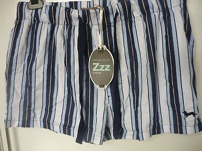 New PETER ALEXANDER Men's Pajamas Blue/White Stripe Boxer Shorts P.J's (Size M)