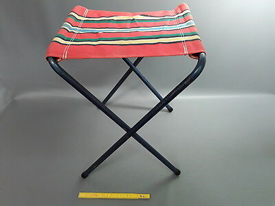 """Antique Chair Camping Fabric and Metal """" Folding """" Vintage"""