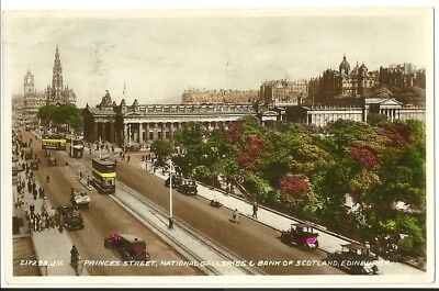 Postcard,  Princes Street, Edinburgh, National Galleries & Bank of Scotland