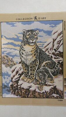 Snow Leopard & cub - Collection D'Art Tapestry Canvas 11484
