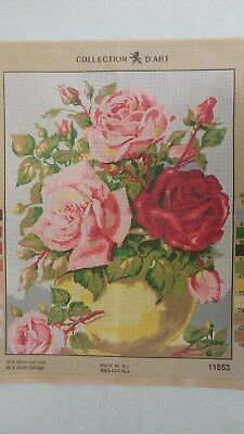 Yellow Vase of Roses - Collection D'Art Tapestry Canvas 11853