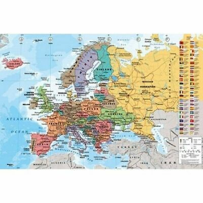 Educational POSTER - European Map 61 x 91.5 cm NEW, Postage Paid
