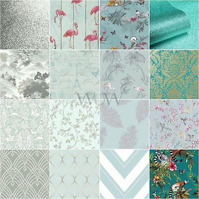 Teal & Duck Egg Wallpaper - Glitter Metallic Feathers Floral Damask Stripe