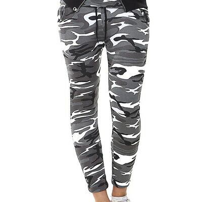 Ladies Womens Camouflage Military Cuffed Joggers High Waist Casual Army Trouser