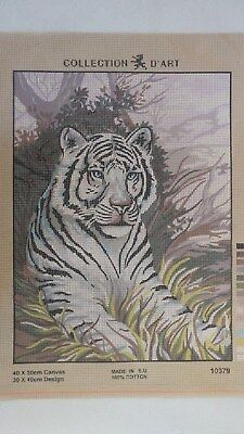 White Tiger - Collection D'Art Tapestry Canvas 10379