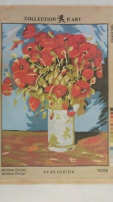 Van Gogh Vase of Poppies - Collection D'Art Tapestry Canvas 10386