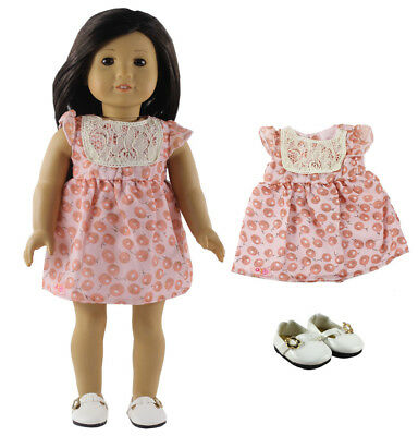 New 1 PC Dress Doll Clothes+1 Pairs Shoes for 18 Inch American Girl Doll X73