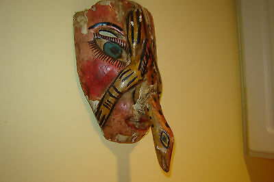 Unique Vintage  Hand Carved & Hand Painted Wooden Mask Puerto Vallarta- Rare !!