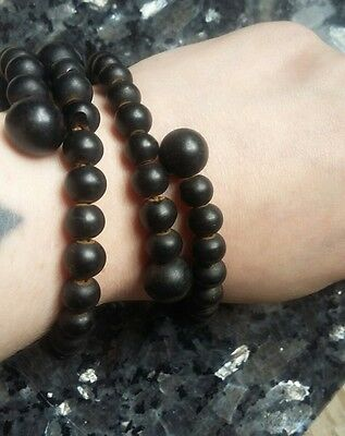 Antique Victorian French Jet Beaded Pair Bypass Bracelet Bangle Mourning Vintage