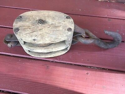 "Antique Vintage Cast Iron And Wood Barn Pulley Block and Tackle 17.5"" Long"