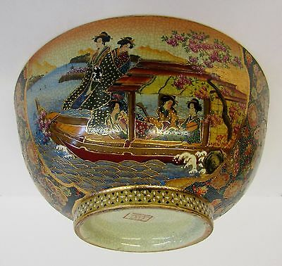 Huge * Quality Crafted Asian Bowl * Chinese Version Of Japanese Satsuma Pottery