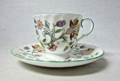 Vintage Minton China Haddon Hall Demitasse Cup & Saucer Colorful Flowers