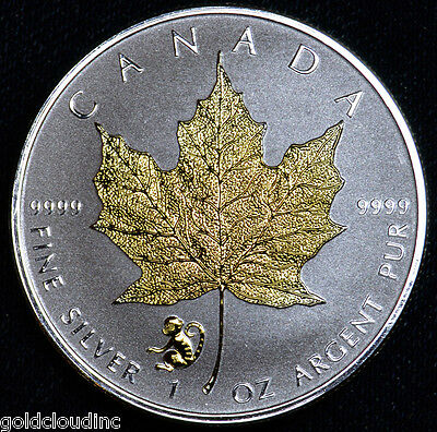 Gold Gilded 2016 Canadian Monkey Privy Maple Leaf 1 oz Silver Coin Reverse Proof