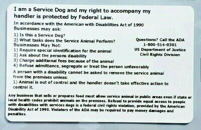Airline Service Dog Ada Law Info Rights Card Hard Plastic Id Badge With Holder