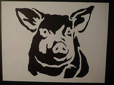 "Pig Face Head 8.5"" x 11"" Custom Stencil FAST FREE SHIPPING"