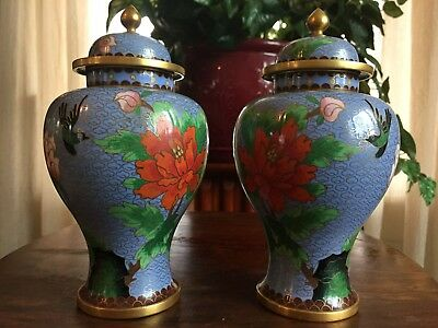 Two MATCHING Blue Red Gold Cloisonne Vase with Lid, Floral and Bird, Estate