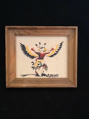 "native american sand painting, eagle dance ceremony, signed R. Johnson. 6""x7"""