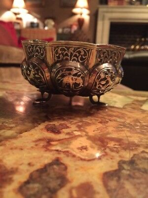 Exquisite Quality Antique Persian Islamic Indian Kashmir Solid Silver Bowl