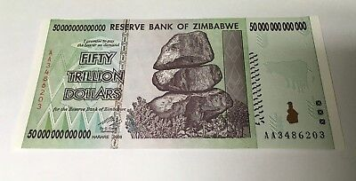 ZIMBABWE 50 TRILLION DOLLARS UNCIRCULATED AA/2008-One Note