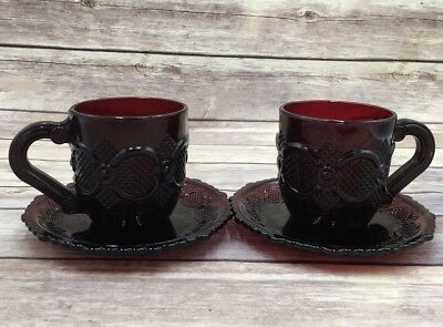 Vintage NO BOX Avon 1876 Cape Cod Ruby Red Cup & Saucer TWO set Lot of 2