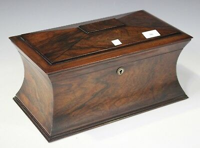 early Victorian rosewood tea caddy of concave sarcophagus form
