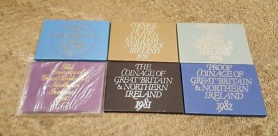 Lot Of 6 Coinage of Great Britain and Northern Ireland 1977-1982 Proof Sets