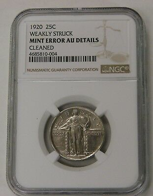 1920 - Standing Liberty Quarter - Mint Error - Weakly Struck - NGC AU Details