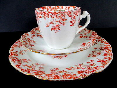 Art Deco / Vintage China Tea Set Trio.Foley Wileman,Pre Shelley.Red Ivy.5097.