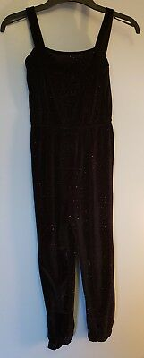 Girls Black And purple sparkle velour Jumpsuit Age 8-9 Years