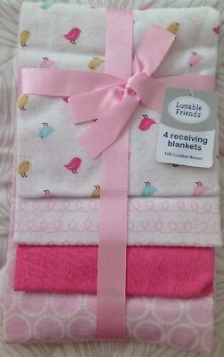 Luvable Friends Flannel 4 Piece Pink & White Receiving Blankets NEW