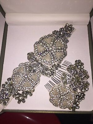 Vera Wang Embellished Hair Comb Sash Bridal Belt Diamanté Wedding