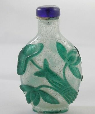 Vintage Chinese Peking Glass  Snuff Bottles, Cut to Clear, Overly - tj#172