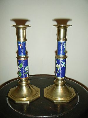 A Pair Of Chinese Cloisonne Over Brass Candle Holders
