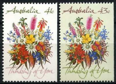 Australia 1990 SG#1230-1 Greeting Stamps Flowers Imperf Right MNH Set #D68410