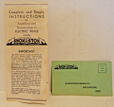 1950's? Instructions-Shox Stok Electric Fence Controller Pamphlet-Wellington, OH