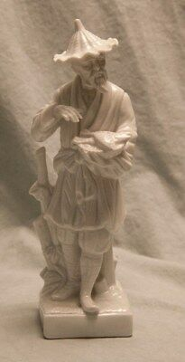 Vintage Fitz & Floyd Asian Man Figurine White Milk Glass Fisherman