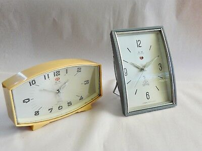2 Vintage 1970s Retro Five Rams Alarm Clocks with Sweep Second Working