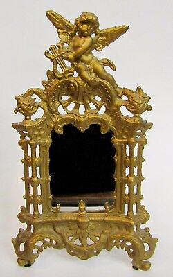* Antique Victorian Cast Iron Easel Mirror * Gold Angel Cherub Playing A Lyre *
